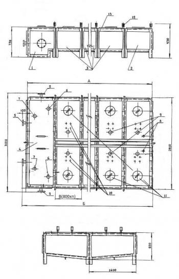 Бак фекальный секционный МСБ-1/7 (секция приемная - 1шт., секция торцевая - 1 шт., секция рядовая - 7шт.) Серия