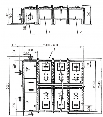 Бак фекальный МСБ-1/1 (секция приемная - 1шт., секция торцевая - 1 шт., секция рядовая - 1шт.) Серия
