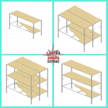 Нары двухсторонние, трехъярусные (крепление в потолок нерегулируемый подголовник на 2-ом и 3-ем ярусе) зависит от высоты потолка