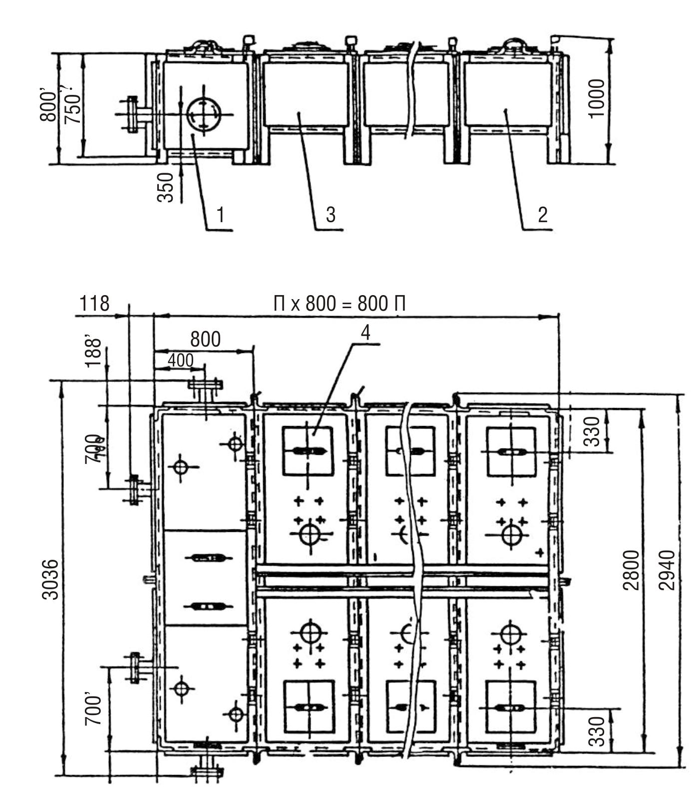 Бак фекальный МСБ-1/10 (секция приемная - 1шт., секция торцевая - 1 шт., секция рядовая - 10шт.) Сер