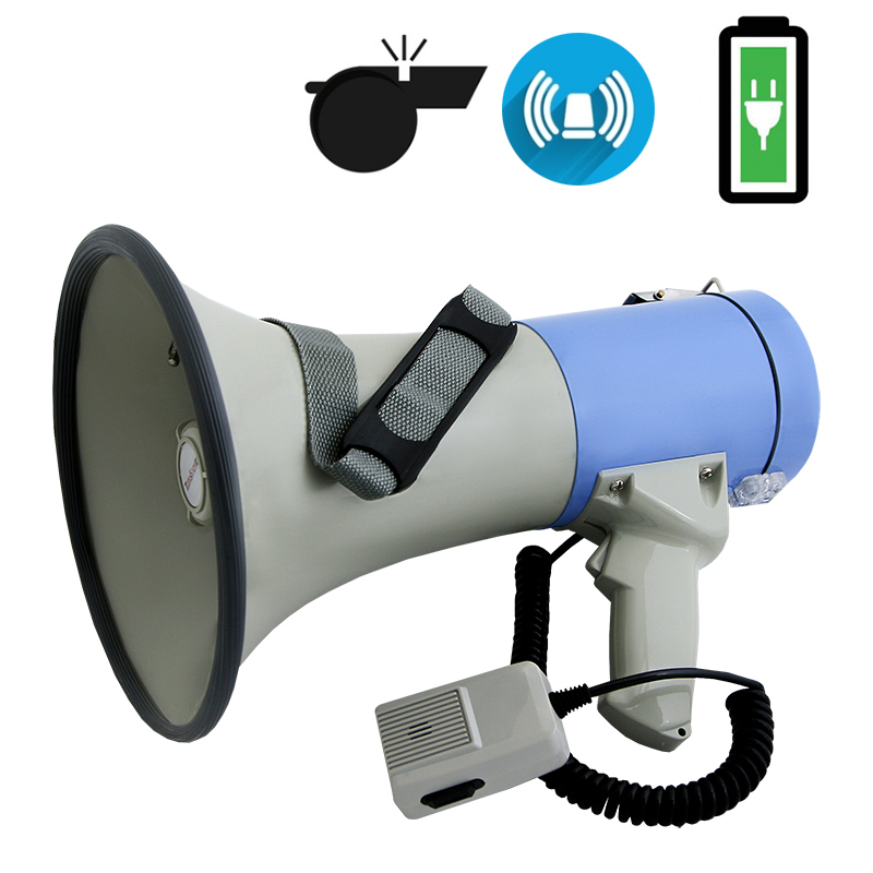 MG-220 SWL / blue мегафон 25Вт, выносной микрофон, сирена, свисток, Li аккумулятор 12V, разъем 12В внешнего питания